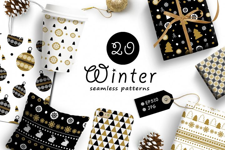 20 Winter seamless patterns