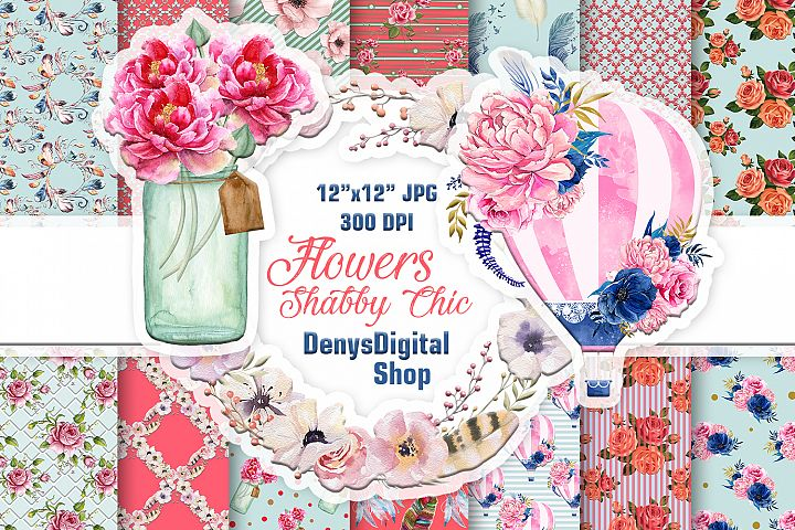 Shabby Chic, Flowers, Scrapbooking Papers, Black Friday SALE
