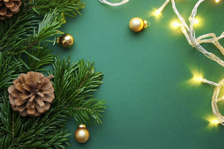 Christmas and New Year background with garland