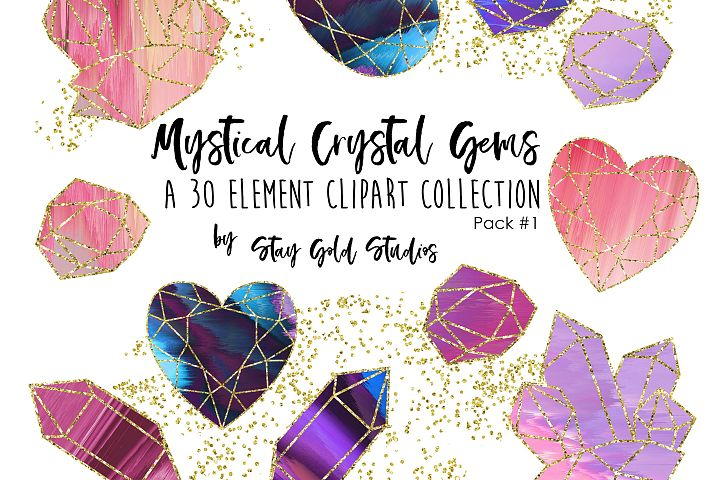 Mystical Crystal Gems Clipart Pack