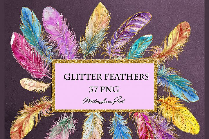 Feathers Watercolor with glitter on a transparent background