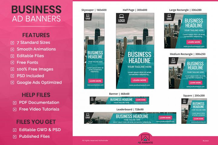 Business Banner Animated Ad Template - BU002