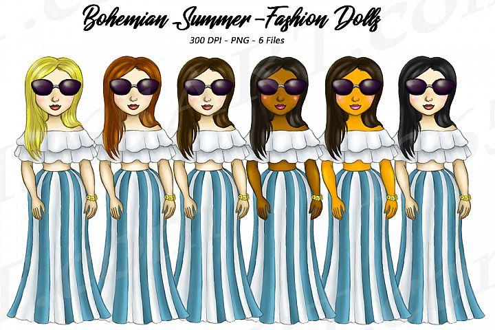 Bohemian Summer Fashion Girls Clipart, Fashion Dolls