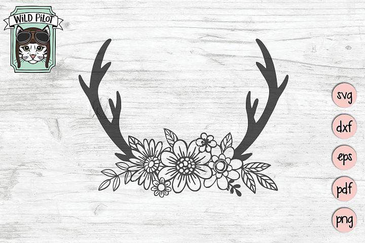 Floral Antlers SVG file, Deer Antlers Cut File, Boho