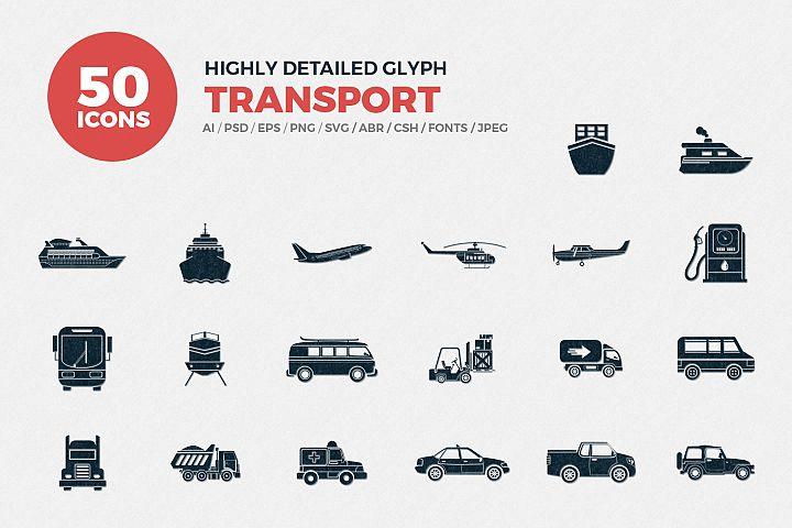 JI-Glyph Transport Icons Set