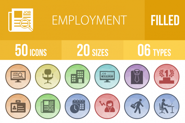 50 Employment Filled Low Poly Icons