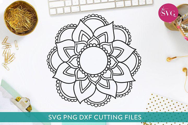 Simple Hand Drawn Flower Monogram Frame Mandala SVG