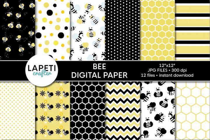 Bee digital paper pack, 12x12 spring scrapbook paper