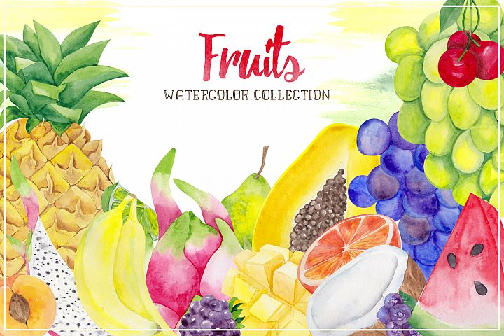 Fruits. Watercolor collection