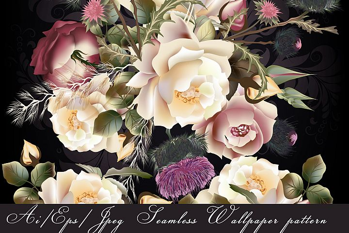 Beauitful vector vintage pattern with roses