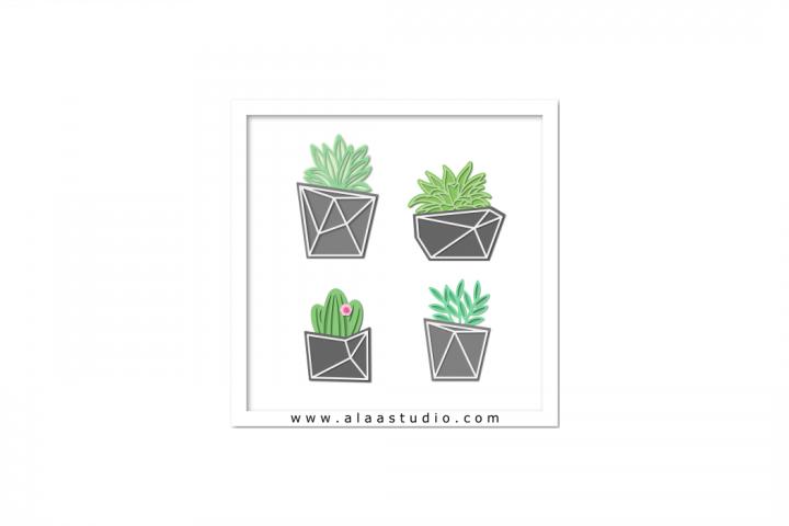 Modern geometric succulent, cactus, plants pots, SVG, PDF, SILHOUETTE STUDIO Formats