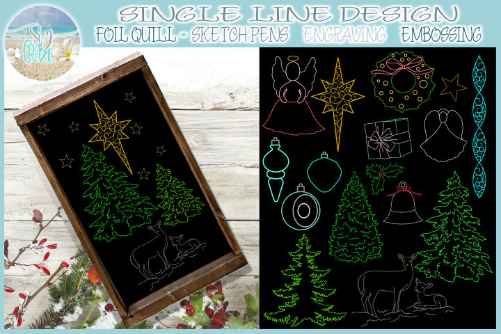 Foil Quill Single Line Christmas Elements SVG
