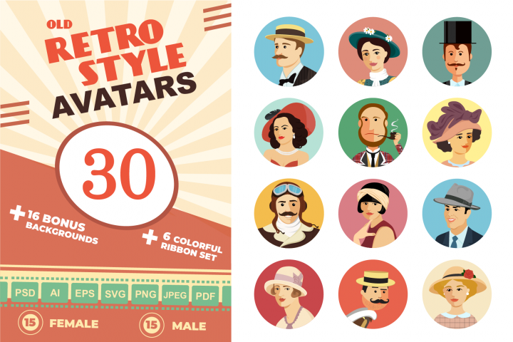 Avatars Retro people vector cartoon