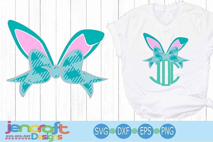 Plaid Bunny Ears Bow Monogram, Easter SVG, Bunny ears Spring