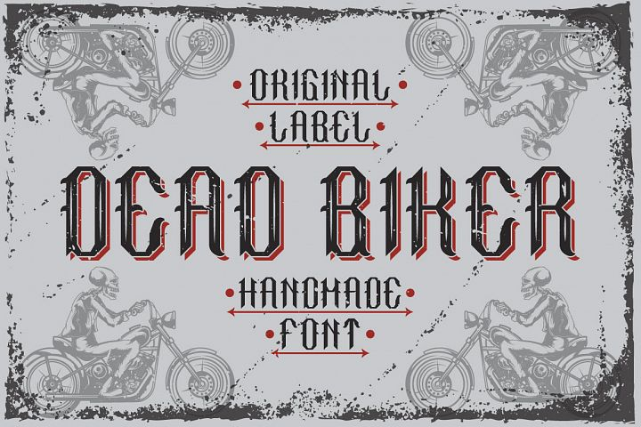 Handcrafted font Dead biker