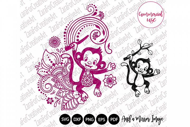 Cute Monkey mandala Zentangle svg