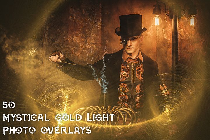 50 Mystical Gold Light Photo Overlays