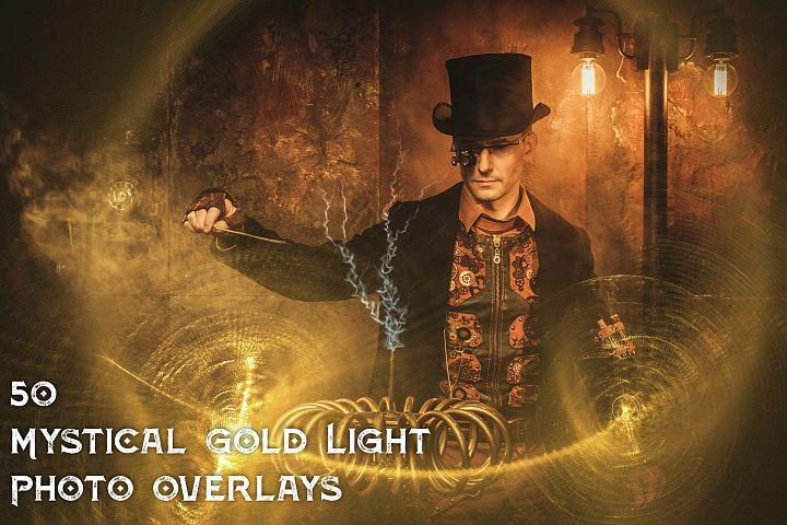 50 Mystical Gold Light Photo Overlays