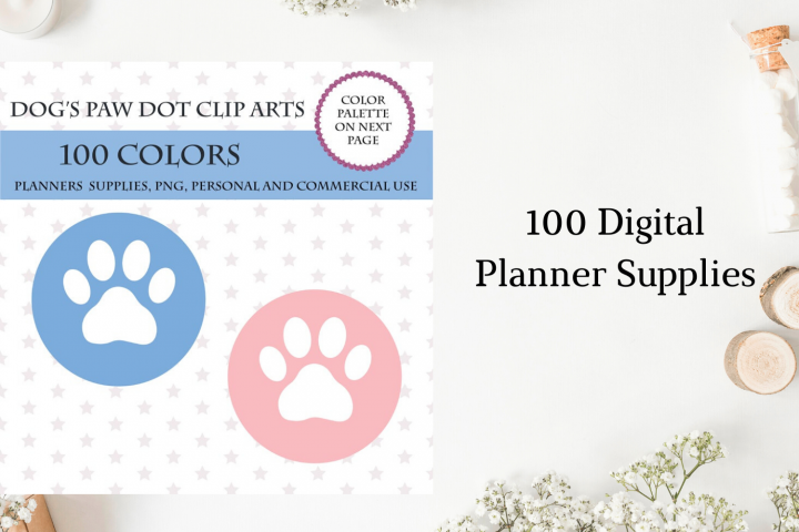 100 Dogs Paw Dot clipart, Vet planner stickers, Dogs Paw