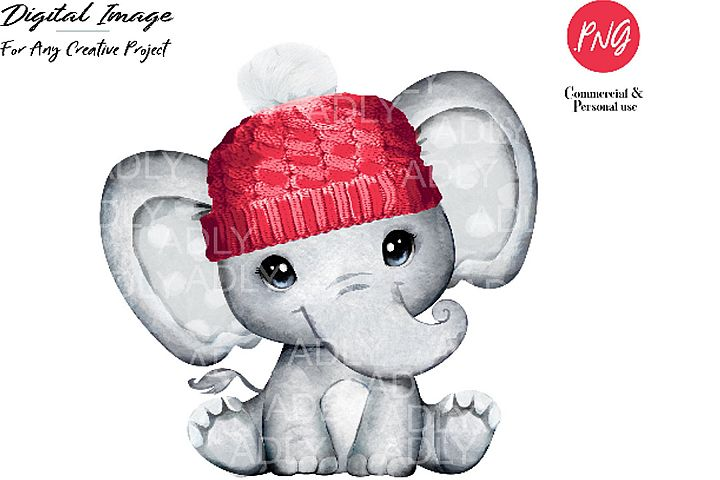 Baby elephant red hat clip art, very cute little peanut