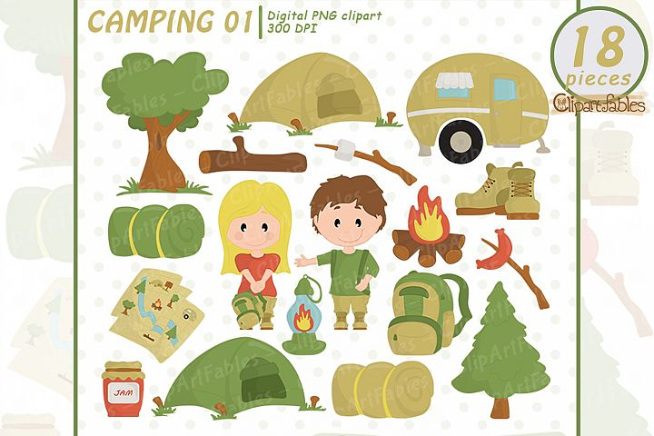 CAMPING clipart, Camp fire art, Outdoor - INSTANT download