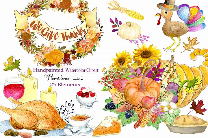 Watercolor Thanksgiving Clipart - Horn of Plenty, PNG