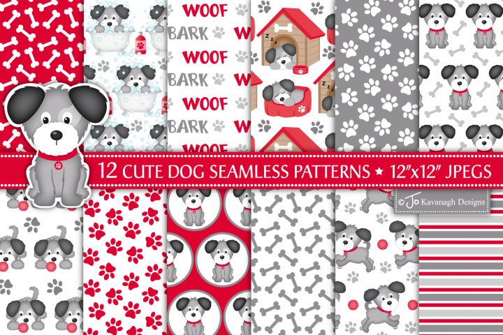 Puppy Dog Digital Papers, Dog Seamless Patterns -P42