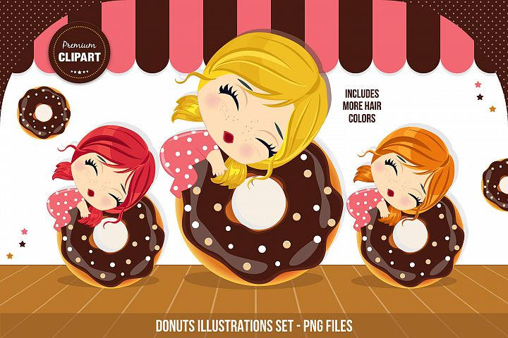 Donuts graphics, I love donuts illustrations