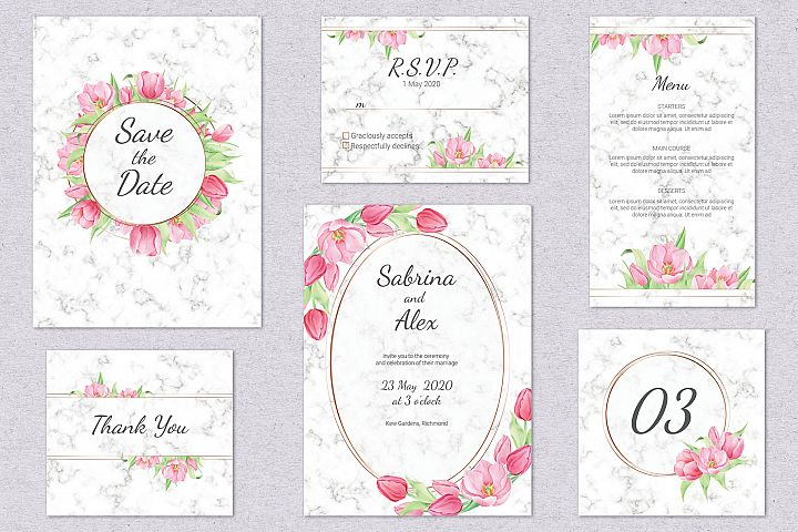 Tulip and Marble. Wedding invitation suite example image 2
