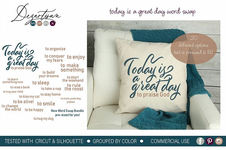 Today is a great day to word swap bundle SVG DXF cut file