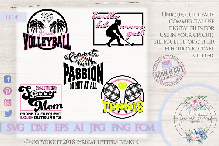 Sports Bundle of 5 SVG DXF FCM Cut Files LL141
