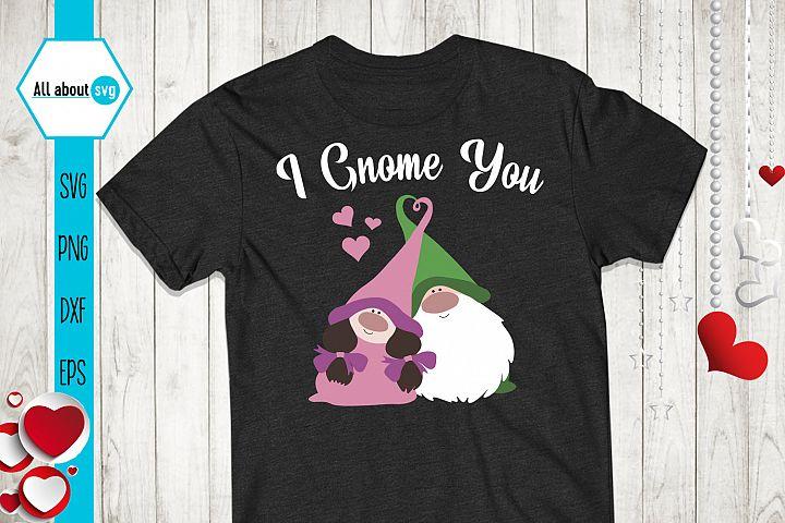 I Gnome You Svg, Valentine's Svg, Gnome In Love Svg example image 2