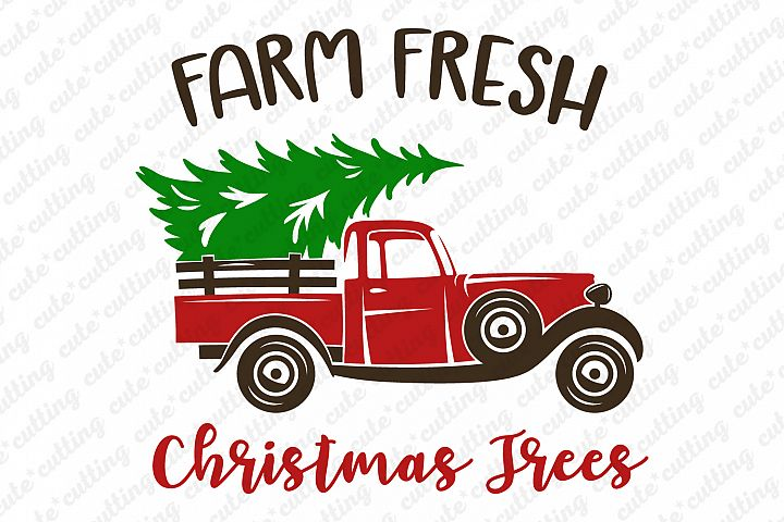 Christmas truck with tree svg, dxf, pdf, jpeg