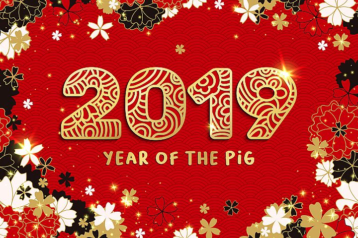 Chinese 2019 Year of the Pig Flyers, Cards Templates, SVG