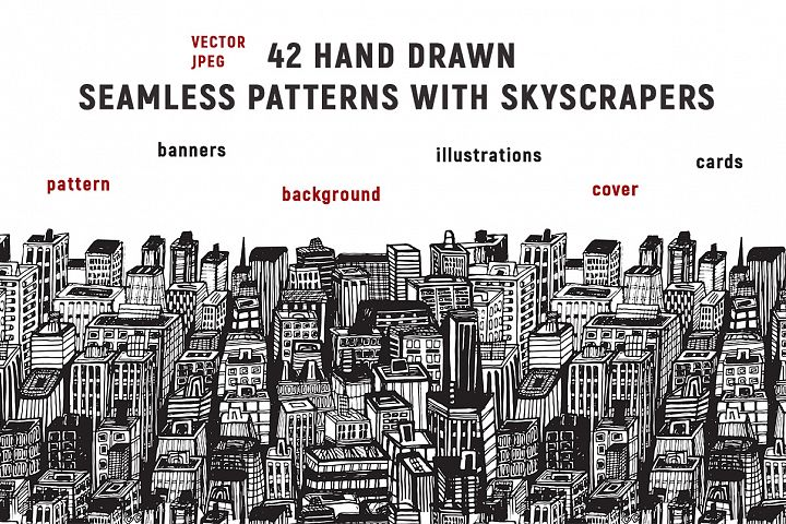 Hand drawn Big city with skyscrapers