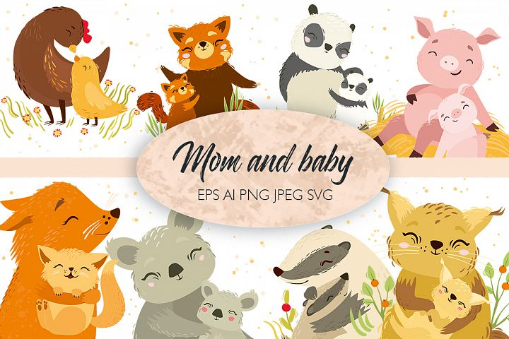 Cute animals. mom and baby. Svg vector animals
