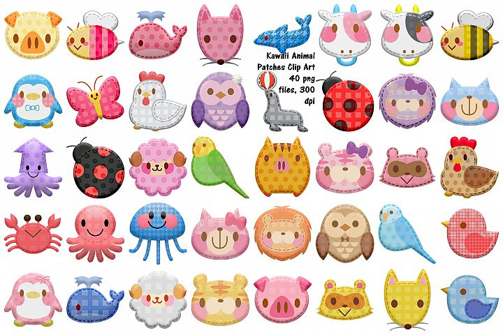 Kawaii Animal Patches Clip Art