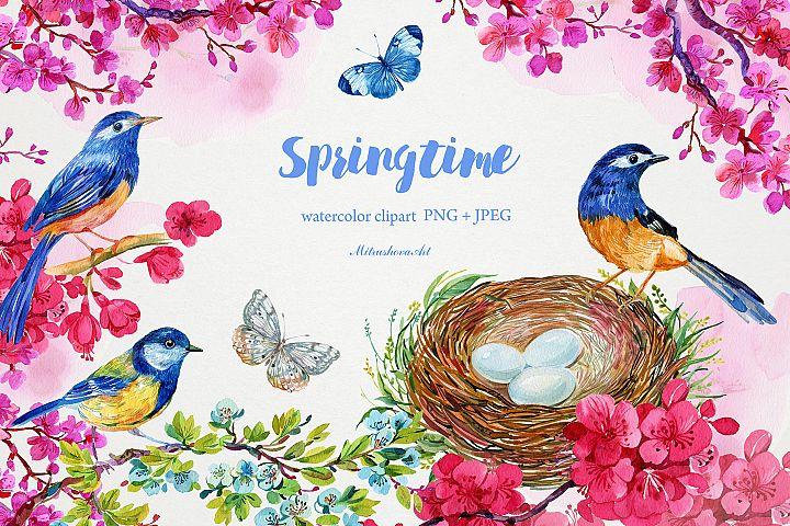springtime. watercolor clipart