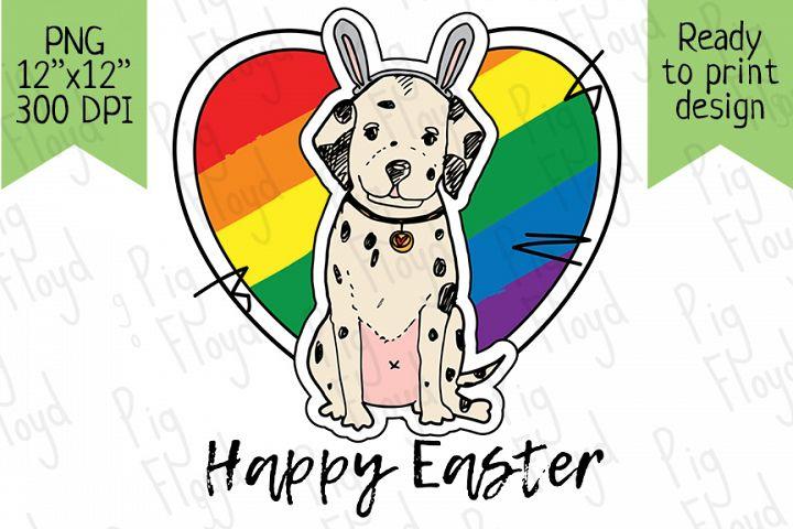 Dalmatian Easter, Happy Easter, Bunny lgbt, Puppy, Dalmatian
