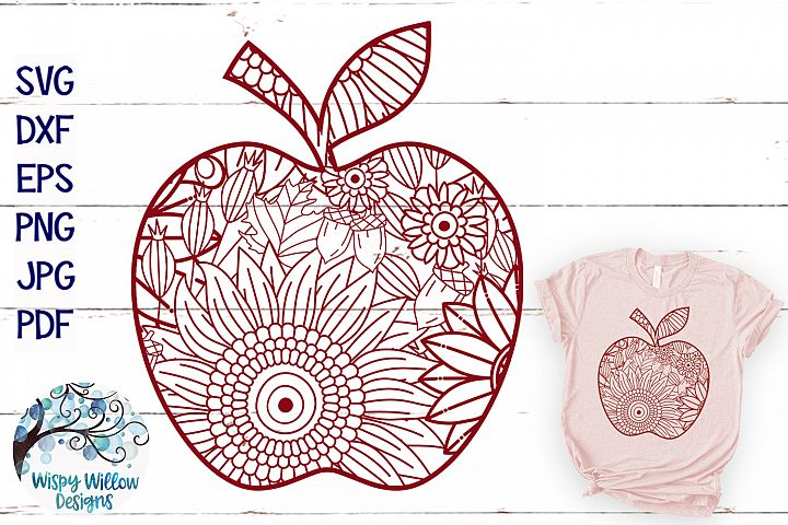 Fall Apple Zentangle SVG|Thanksgiving SVG | Fall SVG Cut Fil