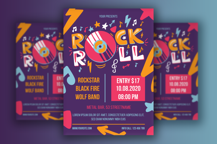 Rock n Roll Poster With Vinyl