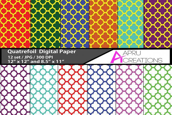 Quatre foil  digital papers, Quatre foil   pattern, digital papers, high quality 300 dpi, 12 x 12 inch , and 8.5 x 11 inch
