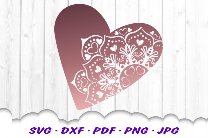 Mandala Heart Hearts SVG DXF Cut Files