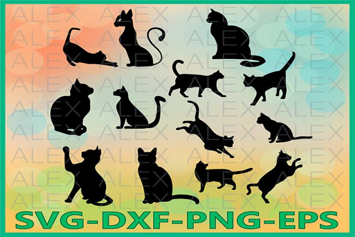 Cat Silhouettes SVG Files, Cat Svg Files, Cat Svg