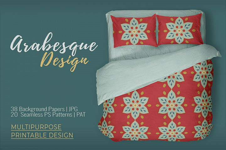 38 Arabesque Papers JPG & 20 Seamless Tiles PS Patterns PAT example 1