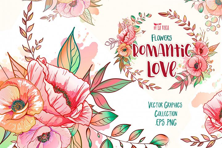 Vector Graphic Collection: Flowers Romantic Love