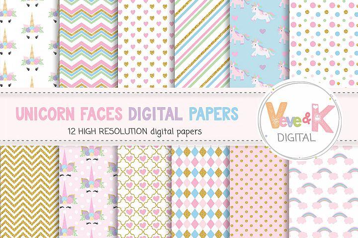 Unicorn Digital Papers, Rainbow Digital Papers, Gold Glitter Unicorn, Magical Unicorn Paper, Pastel Paper, Rainbow Digital Paper, Unicorns