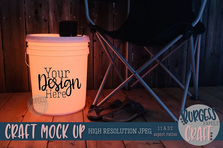 Bucket light table orange Craft mock up|High Resolution JPEG