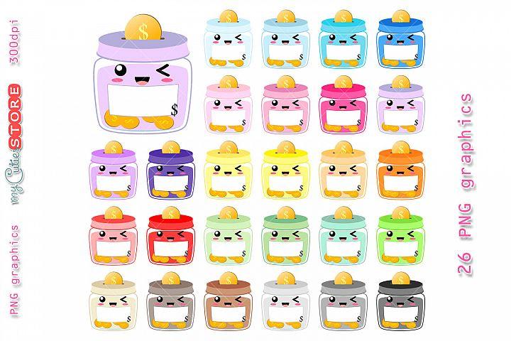 Jar savings kawaii clipart, cute jar bank png graphics set great for planner stickers, scraps or digital planning.