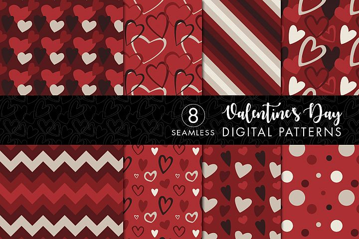 8 Seamless Valentines Day Patterns Set 3